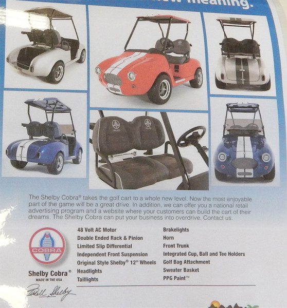 Shelby Cobra Golf Carts by specifications by CaddyShack at West Coast Golf Cars Sun City Center