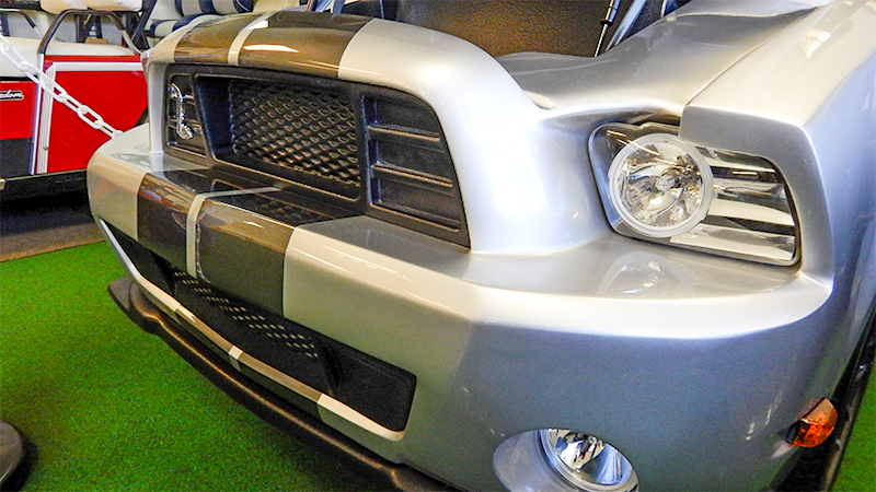 Shelby Cobra grille on customized golf cart by CaddyShack