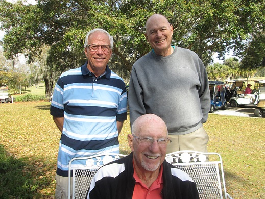 Standing L to R Jerry Matela and Doug Banning, Seated:  Doc Lamiano, Hogans Golf  Team Scores of Sun City Center & Kings Point