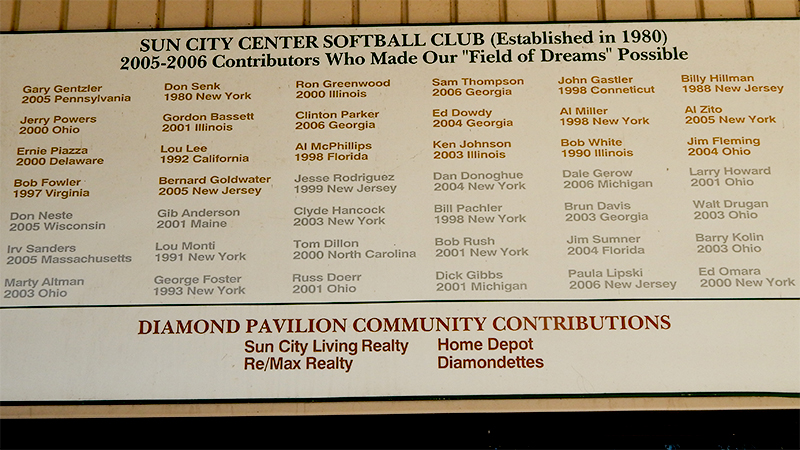 Sun City Center Contributors who made Field of Dreams possible