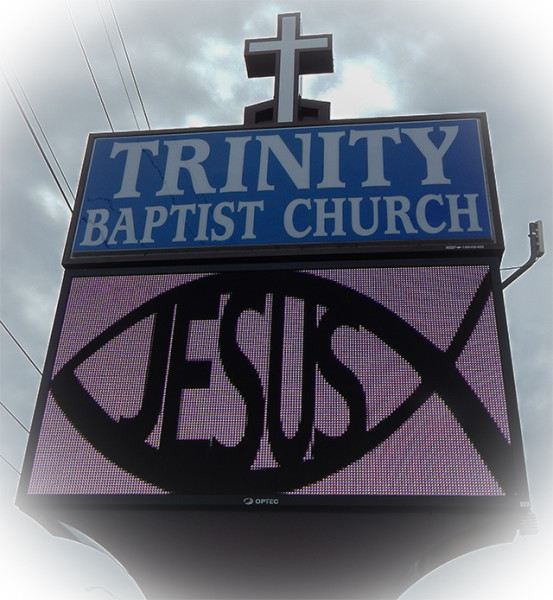 Trinity Baptist Church street sign with Jesus inside fish outlined, Sun City Center, FL