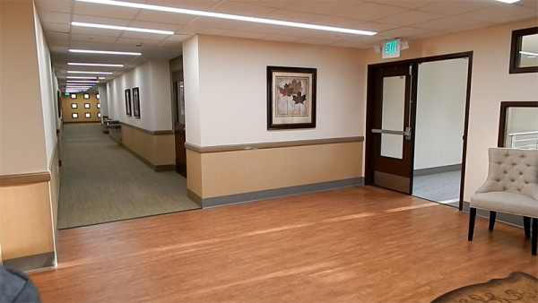 2nd floor hallway in 2020 Center fitness spa building in Kings Point