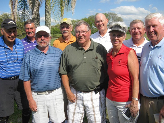 Back L to R Bob Burman, Dan Stephens, Doug Banning, and Dave Conley, Front L to R John Schachte, Norm Taylor, Chris Heim, Jan Conley, and Walt Weldon/submitted by Hogans Golf Club of Sun City Center and Kings Point