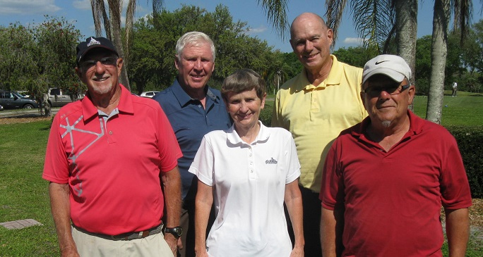 Back L to R Walt Weldon and Doug Banning, Front L to R  Doc Lamiano, Jenice Taylor, and Tom Rosata from Hogans Golf Club of Sun City Center and Kings Point