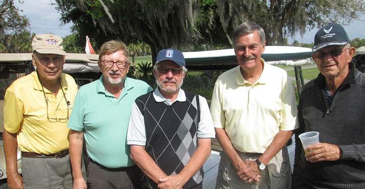 L to R:  John Schachte, Rex Gibbons, Norm Taylor, Bob Burman, and FranHendrickson / submitted by Hogans Golf Club of Sun City Center & Kings Point