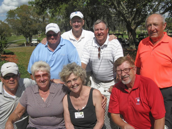 Standing L to R: Cliff Bates, Reggie Ryan, Chris Heim, and Hannes Broschek, Seated L to R: Tom Rosata, Emmy Broschek, Claudia Swakow, and Rex Gibbons/submitted by Hogans Golf Club of Sun City Center and Kings Point