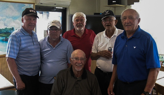 Standing L to R: Walt Weldon, Tom Rosata, Jack Hugill, Francis Hendrickson, and Hannes Broschek, Seated: Doc Lamiano/submitted by Hogans Golf Club of Sun City Center & Kings Point