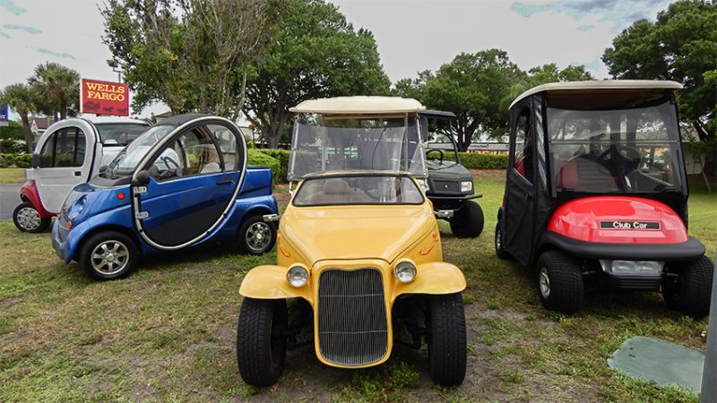 California Roadster yellow customized golf cart
