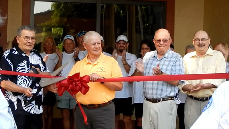 Jim Haggerty L Pres of Kings Point cuts Ribbon with Wayne 2020 Center, Kings Point, Sun City Center, FL
