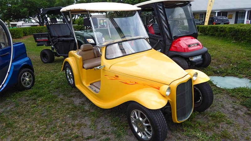 side view of yellow California Roadster customized golf cart