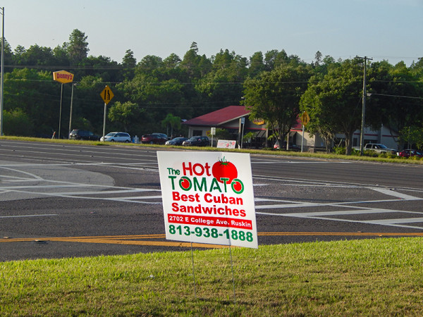 MAY 24, 2015 - The Hot Tomato advertises on Cypress Village Blvd in Sun City Center FL over the Memorial Day Weekend