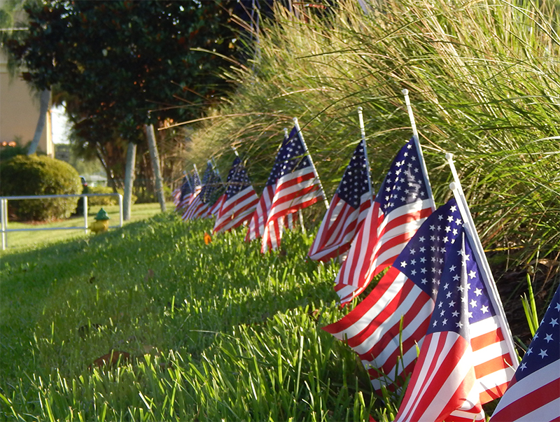 May 25, 2015 - US Flags line the grass by the Lawn Bowling greens at the gate in Kings Point Suncoast Sun City Center, FL
