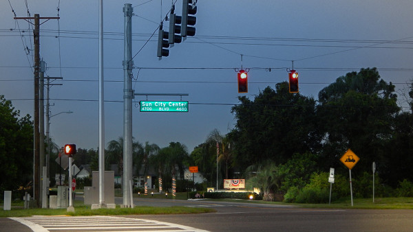 July 3, 2015 - St Andrews Estates entrance of Sun City Center Blvd with new traffic light, SouthShore, FL