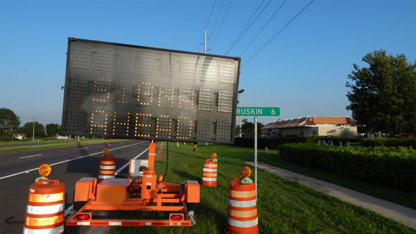 July 4, 2015 - Hillsborough County SIGNAL AHEAD caution sign on Sun City Center Blvd (SR 674)