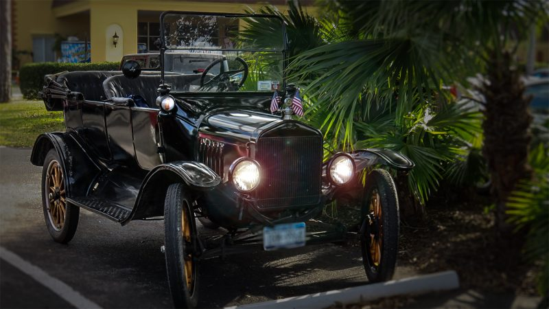 Feb 22, 2016 - Black Model T Ford ragtop with top down and with wooden wheels/suncitycenterphotos.com