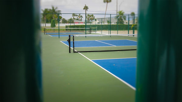 April 22, 2016 - New Kings Point Pickleball courts painted blue and green, Sun City Center, FL/suncitycenterphotos.com