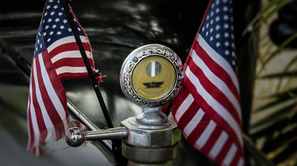 Feb 22, 2016 - Radiator cap on hood of Model T Ford with two US Flags on either side, SouthShore, FL/suncitycenterphotos.com