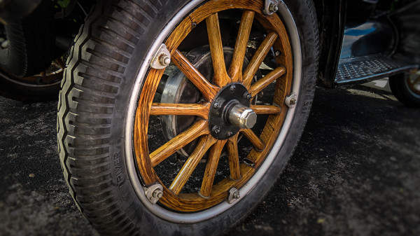 Feb 22, 2016 - Universal T Driver tire on wooden spoked wheel on Model T Ford/suncitycenterphotos.com