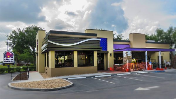 April 22, 2016 - Taco Bell new patio with fireplace construction Sun City Center, FL/suncitycenterphotos.com